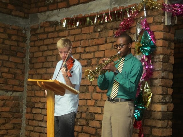 Daniel and Shawn at church in Tanzania,